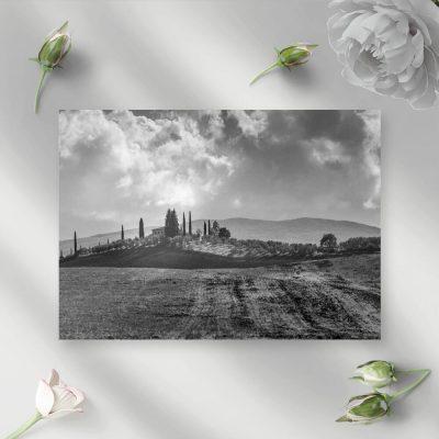 Obraz z czarno-białym pejzażem