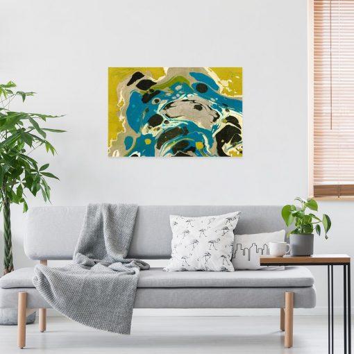 Żółta abstrakcja - Obraz z reprodukcją