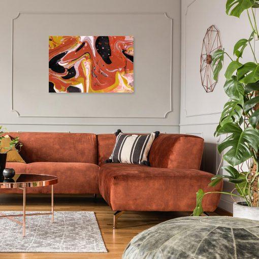 Obraz do salonu z abstrakcją w energetycznym kolorze