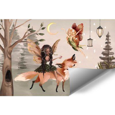 Leśna foto-tapeta dziecięca z nimfami