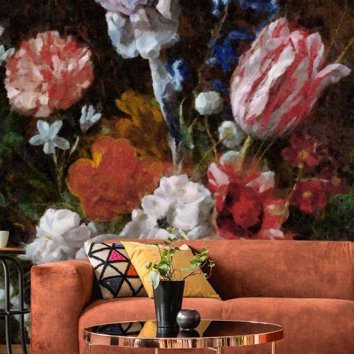 Fototapeta w stylu prowansalskim z tulipanami do sypialni