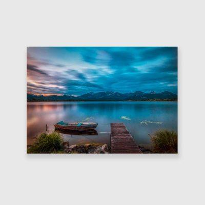 Obraz z chmurami nad jeziorem