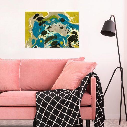 Niebieska abstrakcja - Obraz do salonu