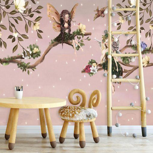 Elfy i ptaszki - fototapeta dla dzieci