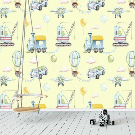 Samolot i Balon latający - tapeta dla chłopca