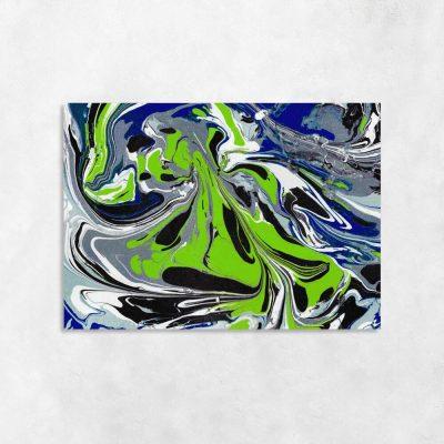 Obraz z chabrową abstrakcją do sypialni
