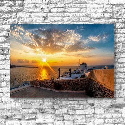 Obraz z zachodem słońc na Santorini do sypialni