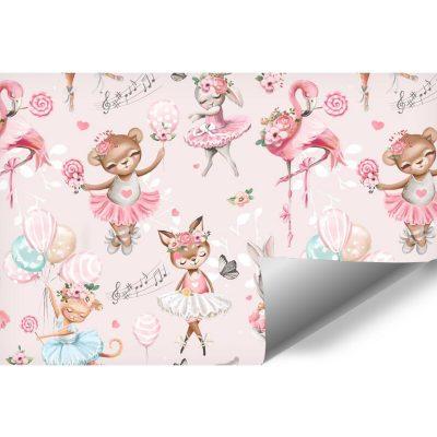 Różowa fototapeta dla dzieci -Misiaczek z lizakiem