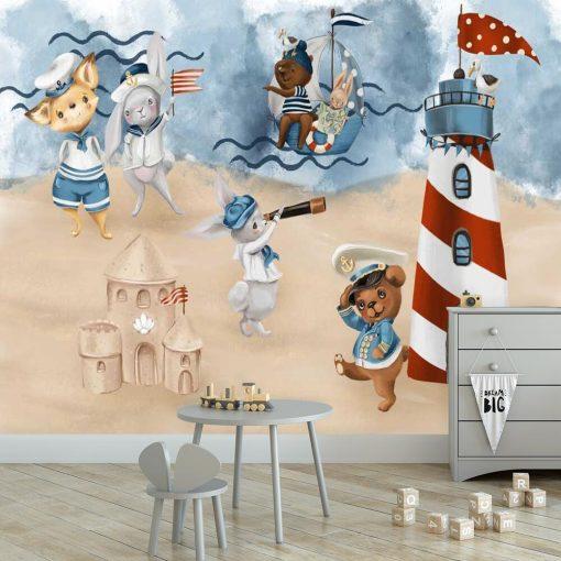 Marynarze na Pastelowej Plaży - fototapeta dla dzieci