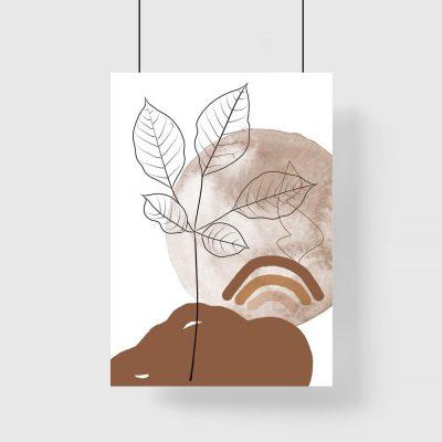 Plakat z liśćmi i brązowym krajobrazem