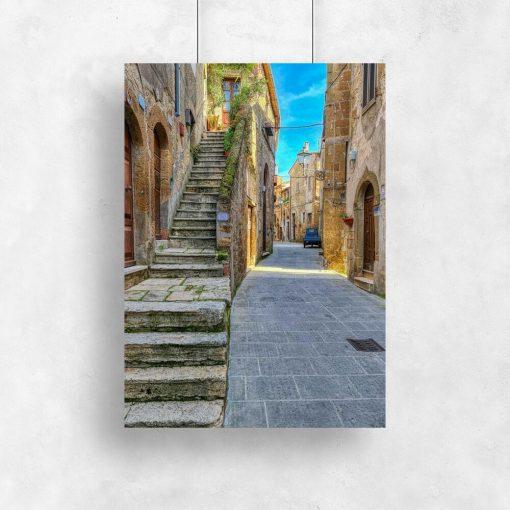 Plakat z wąską uliczką w Pitigliano