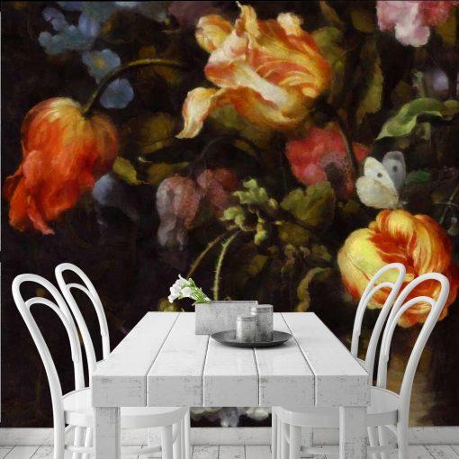 Fototapeta z motywem czerwonych tulipanów do jadalni