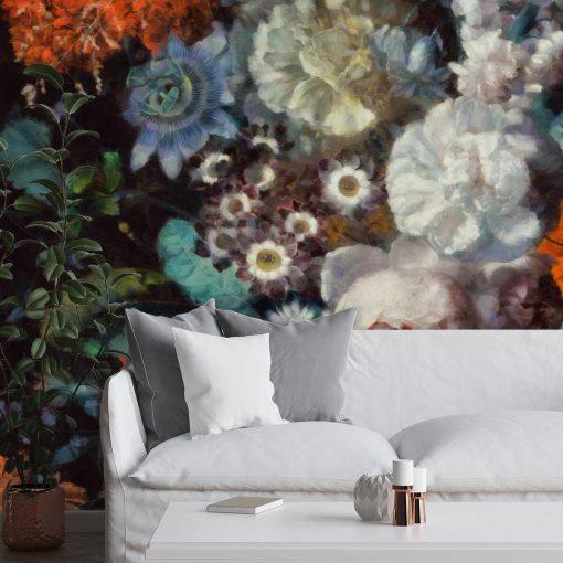 Foto-tapeta z motywem jesiennych kwiatów do sypialni