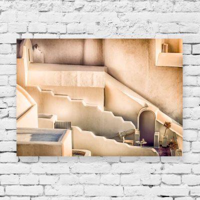 Obraz - Beżowe budowle w Santorini do dekoracji salonu