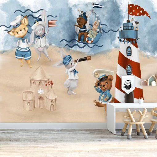 Kapitan i załoga zwierzaków - fototapeta dla dzieci