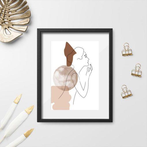 Plakat z kobietą i plamami