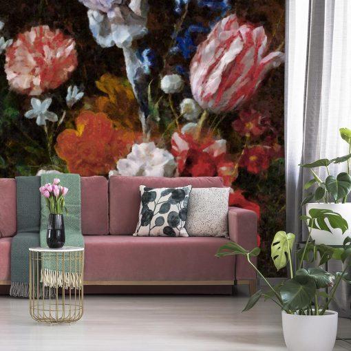 Fototapeta w stylu prowansalskim z tulipanami do salonu