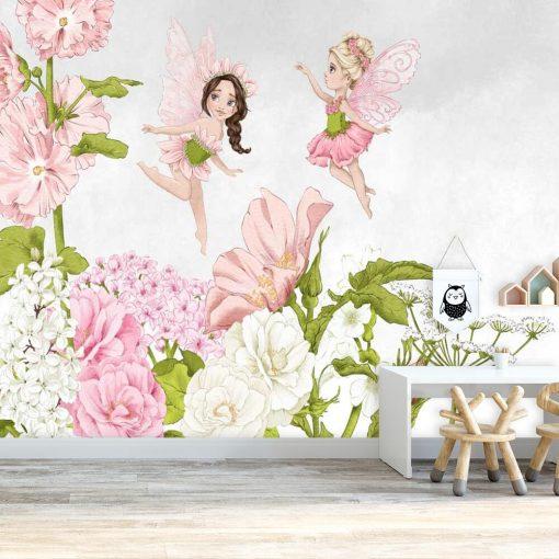 Fototapeta z pastelowymi wróżkami do pokoju dziewczynki