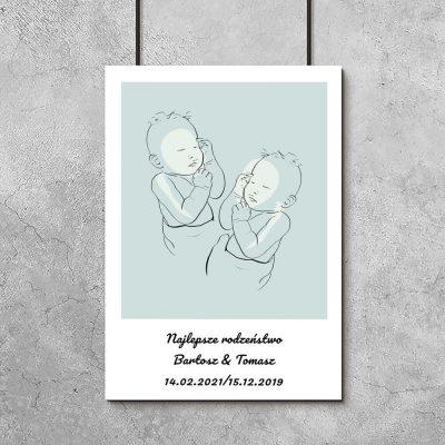 Dziecięcy plakat line art z motywem bobasów dla rodzeństwa