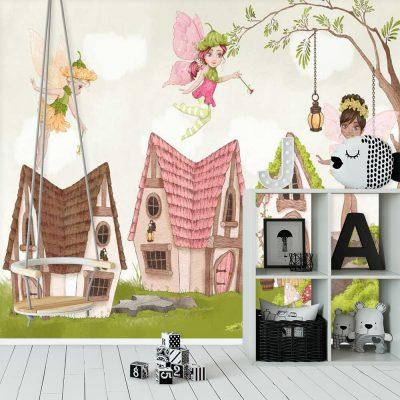 Pastelowa tapeta do pokoju dziewczynki