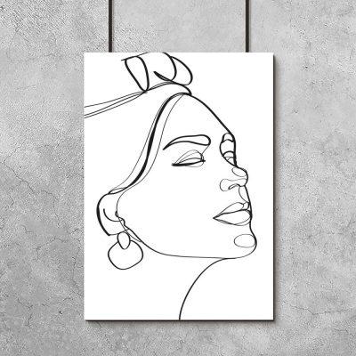 Plakat line art z kobiecą twarzą do dekoracji salonu