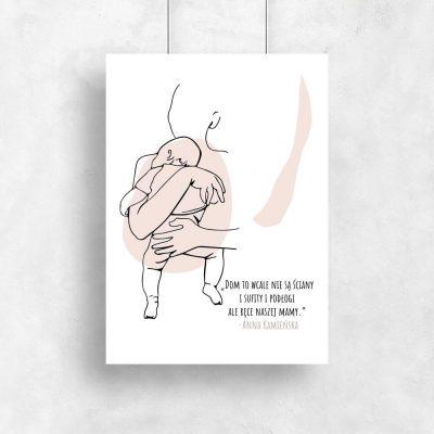 Plakat line art z sentencją o mamie