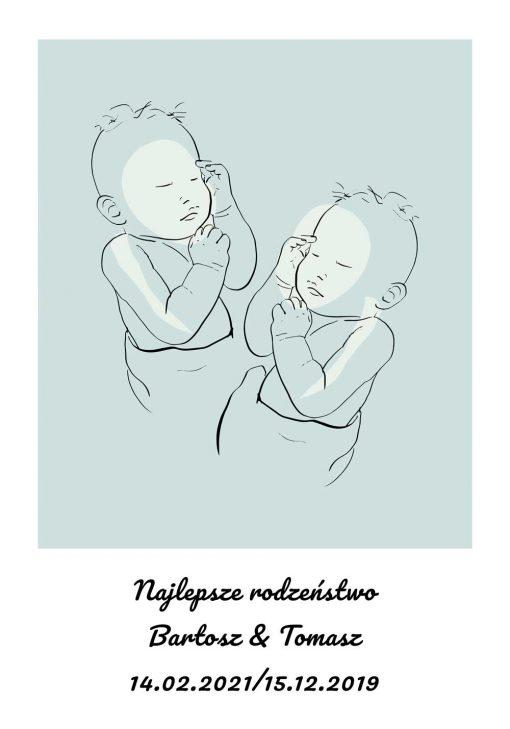 Dziecięcy plakat z motywem bobasów dla rodzeństwa