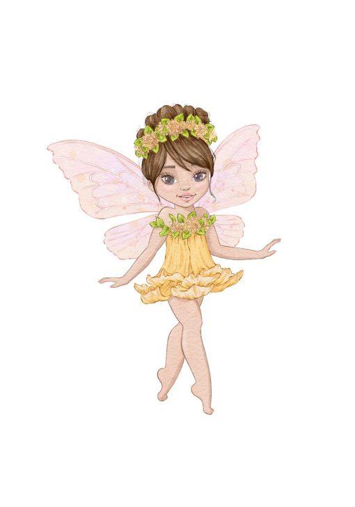 Plakat z wróżką w sukience z żółtego kwiatu nad łóżeczko dziecka
