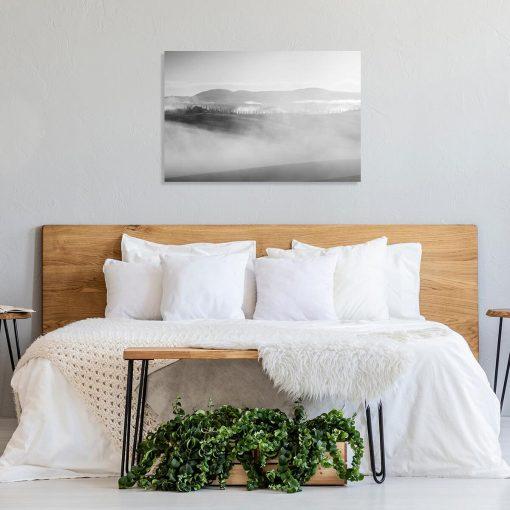Czarno-biały obraz z pejzażem we mgle do dekoracji gabinetu
