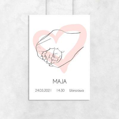 Nowoczesny plakat dla dziewczynki - Serduszko nad łóżeczko