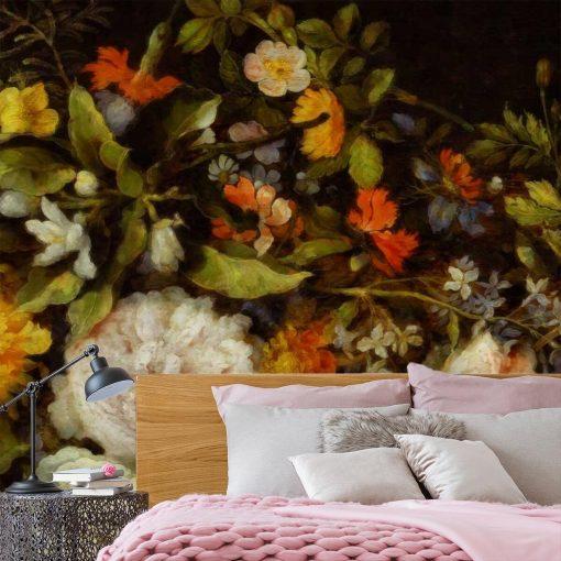 Fototapeta z kwiatami i dekoracji salonu