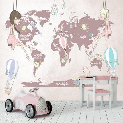 Fototapeta dla dzieci z kontynentami