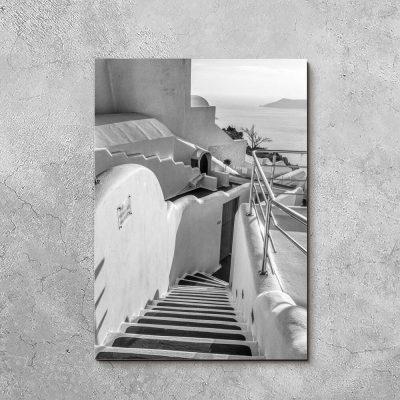 Obraz z szarymi schodami Santorini do salonu