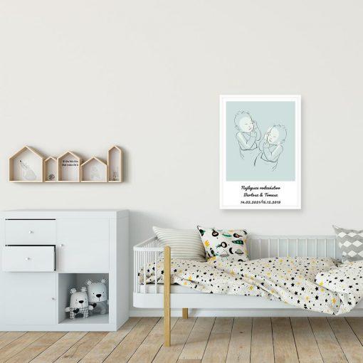 Dziecięcy plakat line art z motywem bobasów do pokoju rodzeństwa