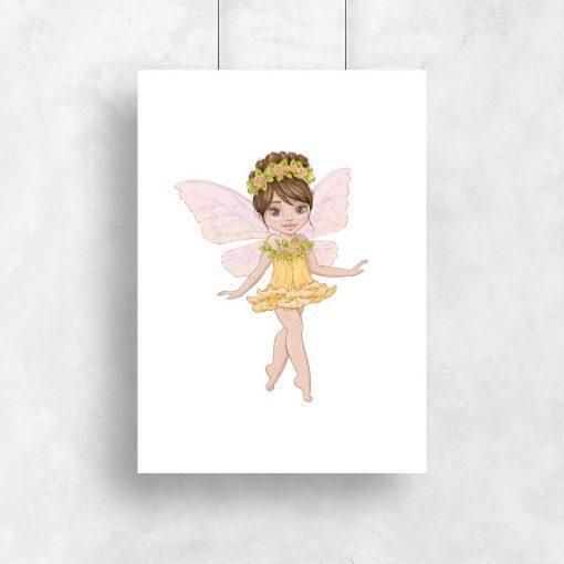 Plakat z wróżką w żółtej sukience z kwiatuszka do pokoju dziewczynki