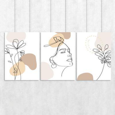 Komplet trzech plakatów z kobiecą twarzą oraz kwiatami