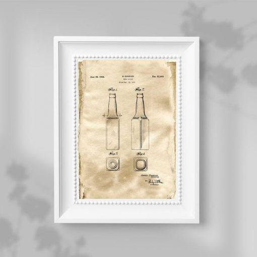 Beżowy plakat z patentem na butelkę do piwa