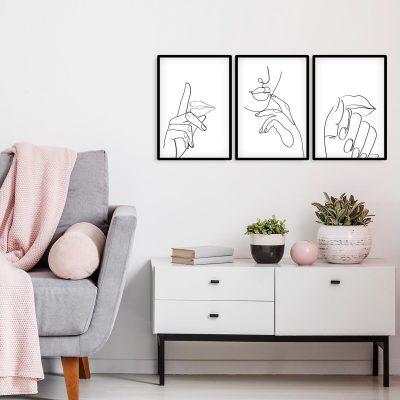 Plakaty tryptyk minimalistyczny styl