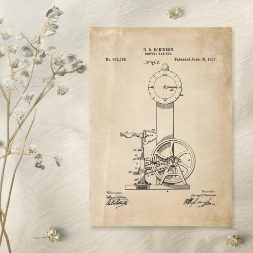 Plakat rycina - pierwszy rowerek treningowy