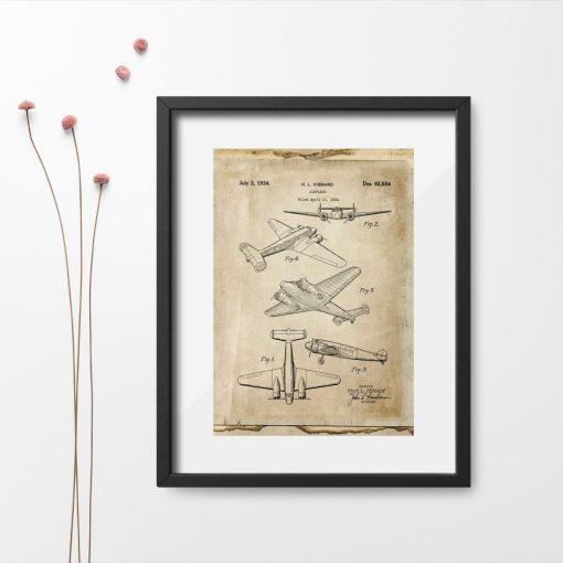 Plakat z samolotem dwusilnikowym - rycina