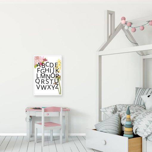 Alfabet - Plakat dla dziewczynki z dmuchawcem