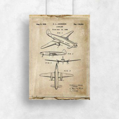 Plakat z samolotem jednopłatowy