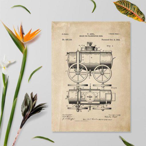 Plakat z atestem na urządzenia z XIXw.