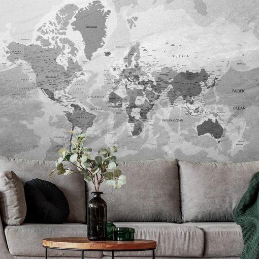 Fototapeta z mapą świata w szarym kolorze