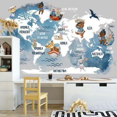 Błękitna tapeta z kontynentami i oceanami