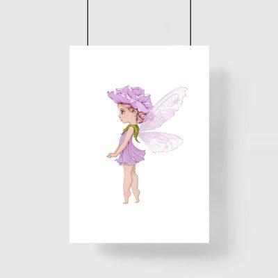 Liliowy plakat z leśną wróżką do dziecięcego pokoju