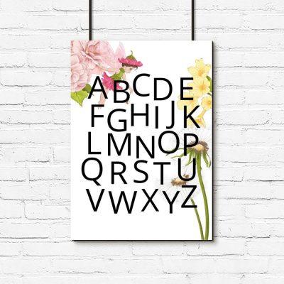 Alfabet - Plakat dla dzieci z dmuchawcem
