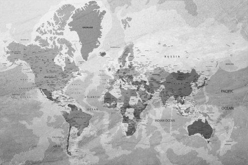 Foto-tapeta z polityczna mapą całego świata