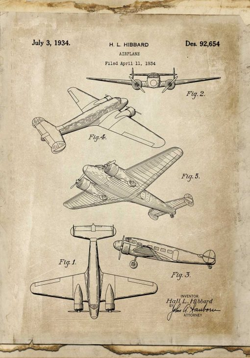 Plakat vintage samolot dwusilnikowy w kolorze sepii