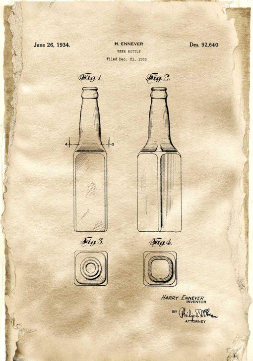 Plakat beer bottle - patent z roku 1933